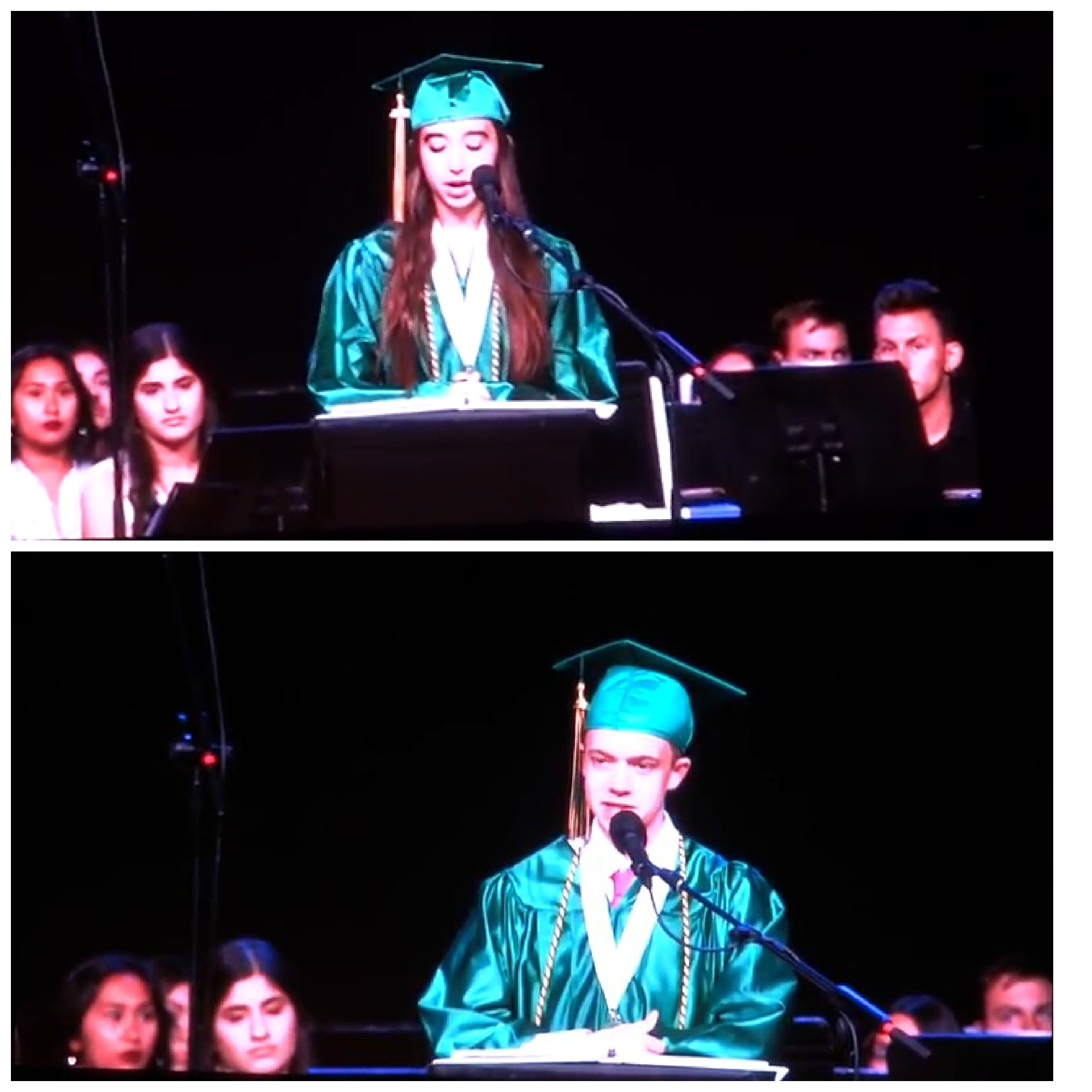 collage of two teenagers in green graduation robes speaking at ceremony